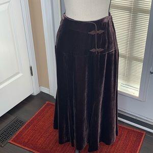 Garnet Hill Rayon Silk Brown Velvet Midi Skirt 2